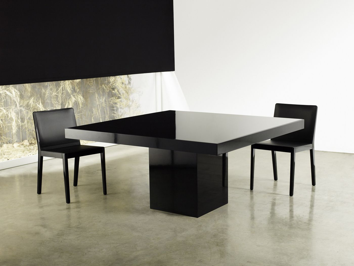 Beech Square Dining Table Features Central Base And Table Top In