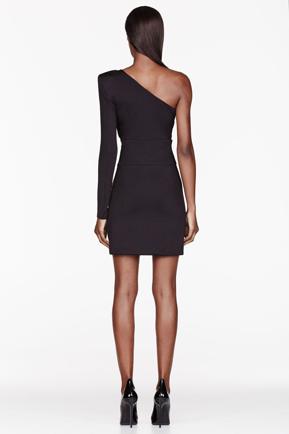 BALMAIN Black One Sleeve Dress