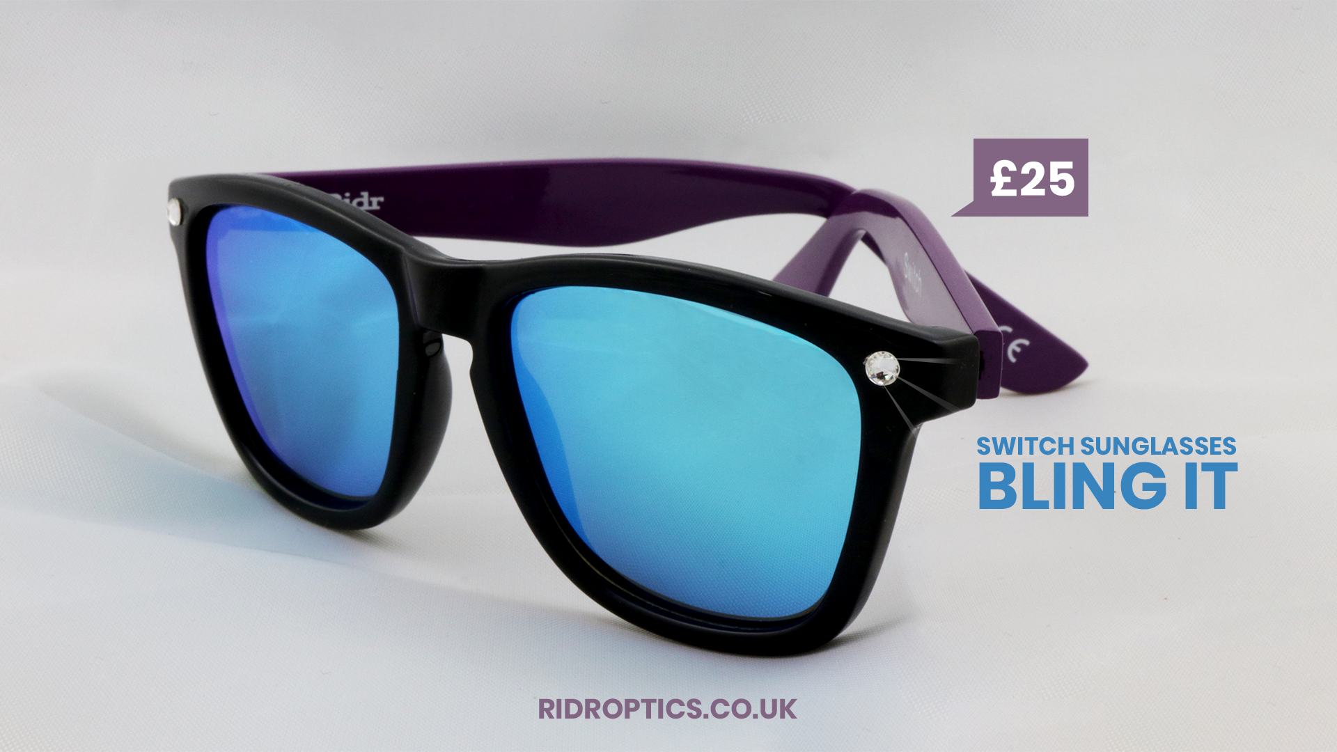 015794cd97 Ridr Switch Sunglasses are now available with optional Swarovski Crystal  Bling. Fresh! Order yours