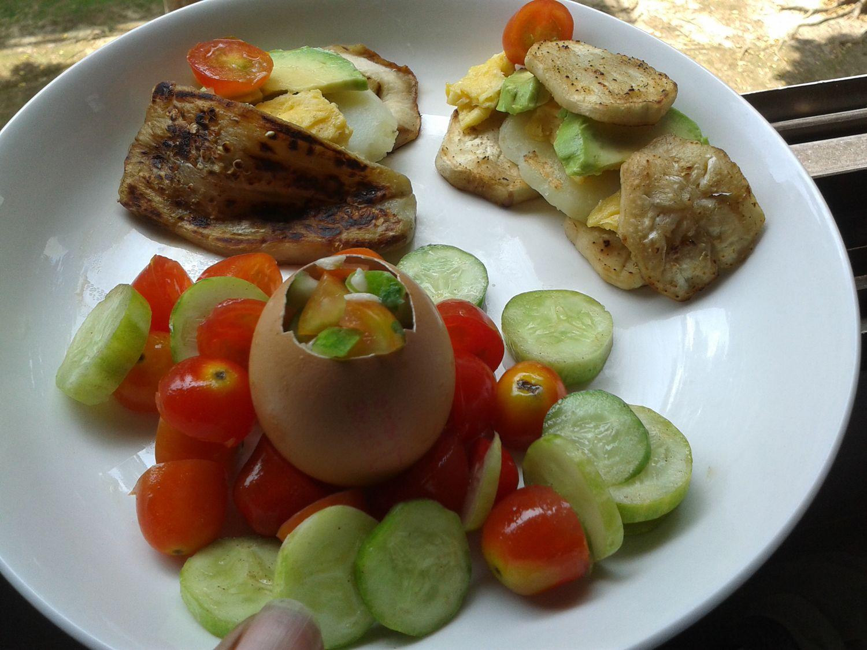Eggplant, tomatoes, cucumber, egg, and salsa in an eggshell