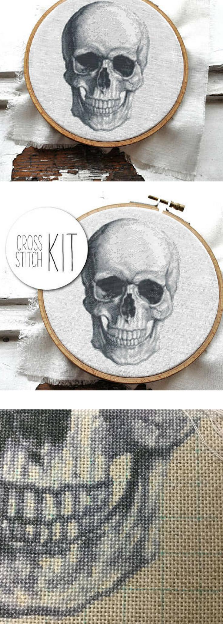 Modern Cross Stitch Kit Anatomical Skull Unique Black And White