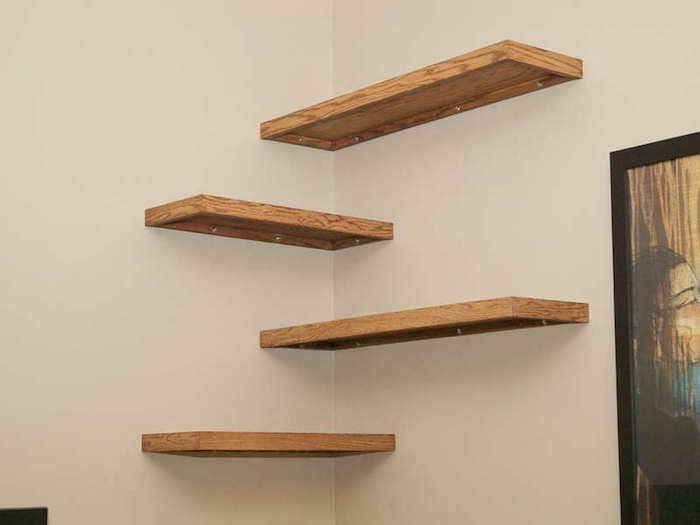 etagere d angle murale bois simple style ikea avec fixation invisible