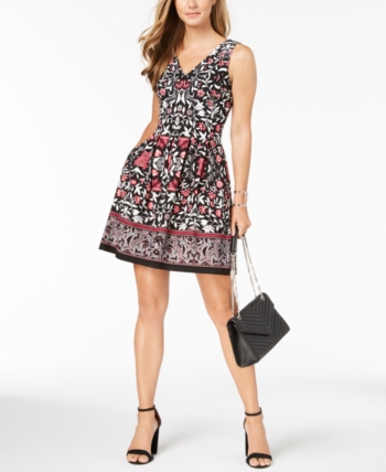 fc180ae36281 Vince Camuto Printed Fit   Flare Dress - Black 14
