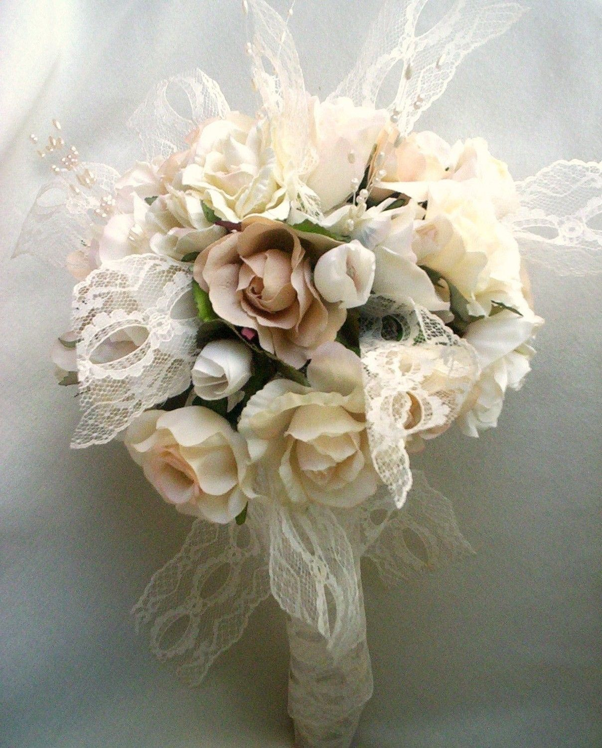 Vintage Bouquet Shabby Chic Wedding ivory Lace Pearls Ready Ship ...