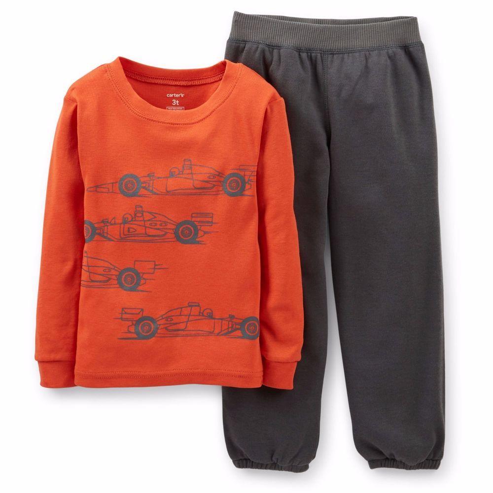 7585062ef02f Carter s Boys SIZE 4 Race Car 2-Piece Cotton   Fleece Pajama Set NWT ...