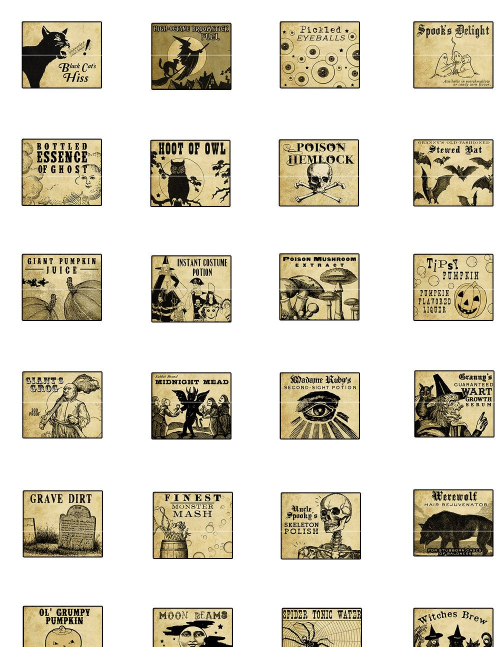 miniature dollhouse halloween potion labels tag collection and collage sheets pinterest. Black Bedroom Furniture Sets. Home Design Ideas