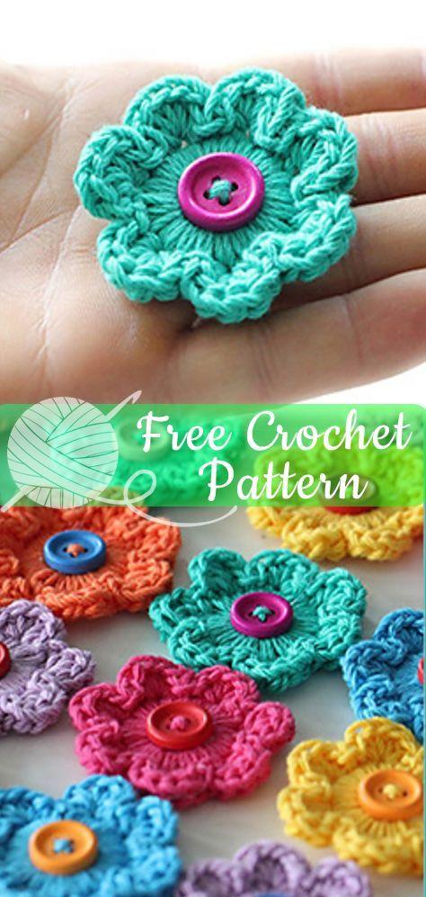Mini Hoop Flowers – Free Crochet Pattern – Crochet Love #crochetflowerpatterns