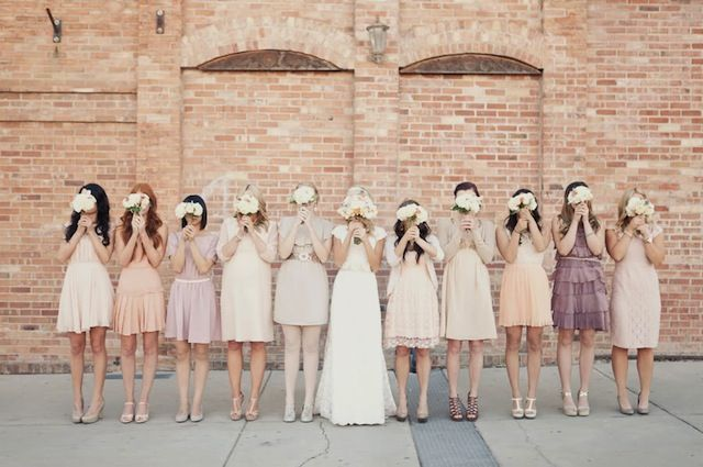 bridesmaids wearing mismatched neutral tones | image by Alixann Loosle Photography via @Bridal Musings