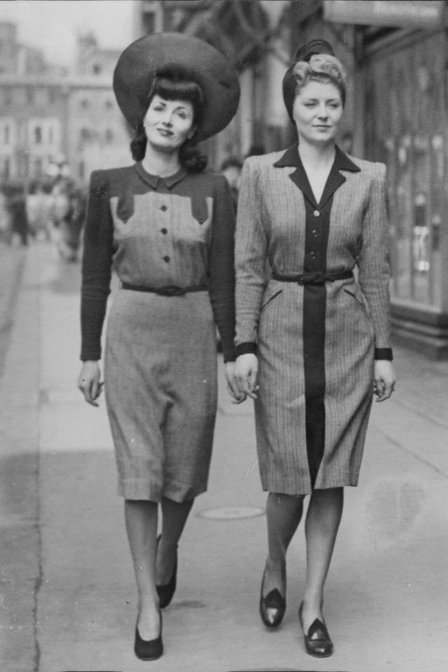 1940s Fashion  Iconic Looks And The Women Who Made Them Famous     Models On Bond Street  London  1942 The wartime look in Britain became much  more austere as the years went by  This was the first collection