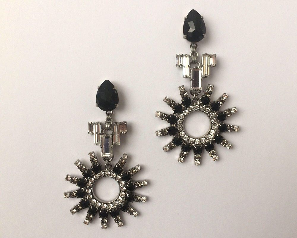 Art Deco Inspired Swarovski Crystal Earrings Large Black Jet Jewellery