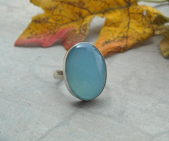 Light blue chalcedony ring - Oval ring - Gemstone ring - Bezel ring - Sterling silver ring - Cabochon - Gift for her