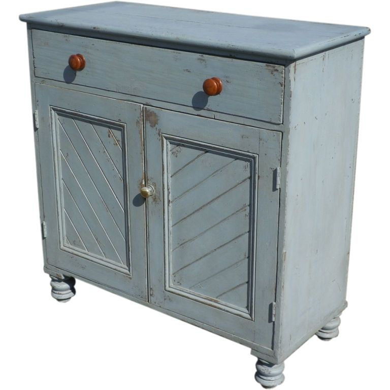 Irish Blue Painted Pine Panelled Cabinet (With Images
