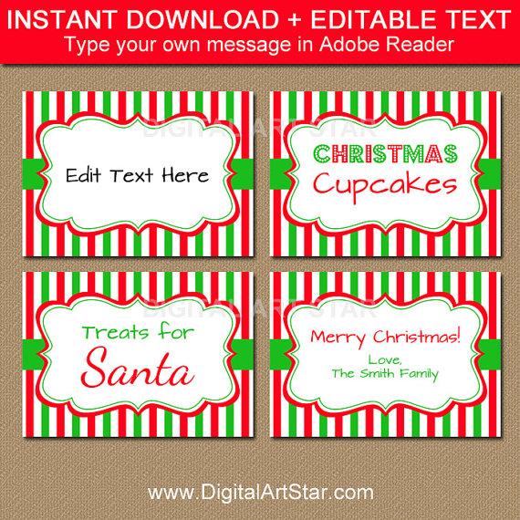 Printable Christmas Food Labels, Tent Cards, Christmas ...