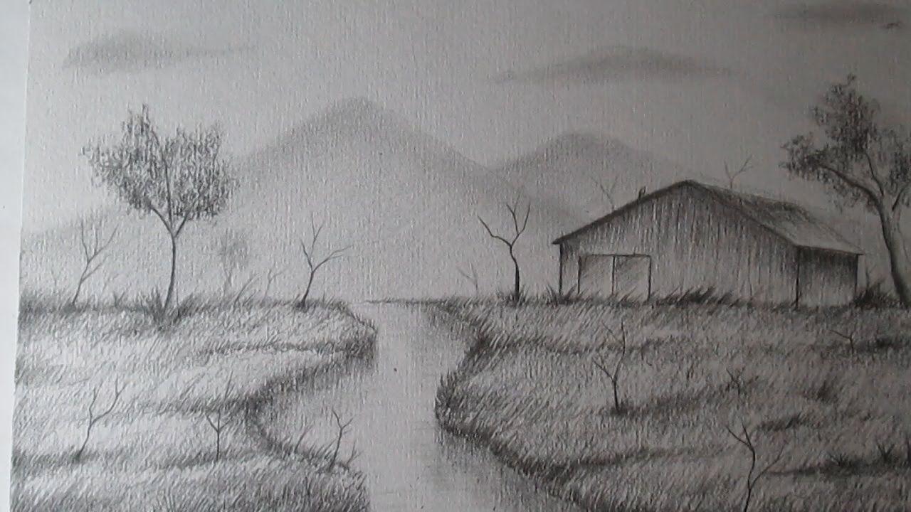 Como Dibujar Un Sencillo Paisaje A Lapiz Paso A Paso Bien Explicado Landscape Sketch Landscape Painting Tutorial Easy Drawings