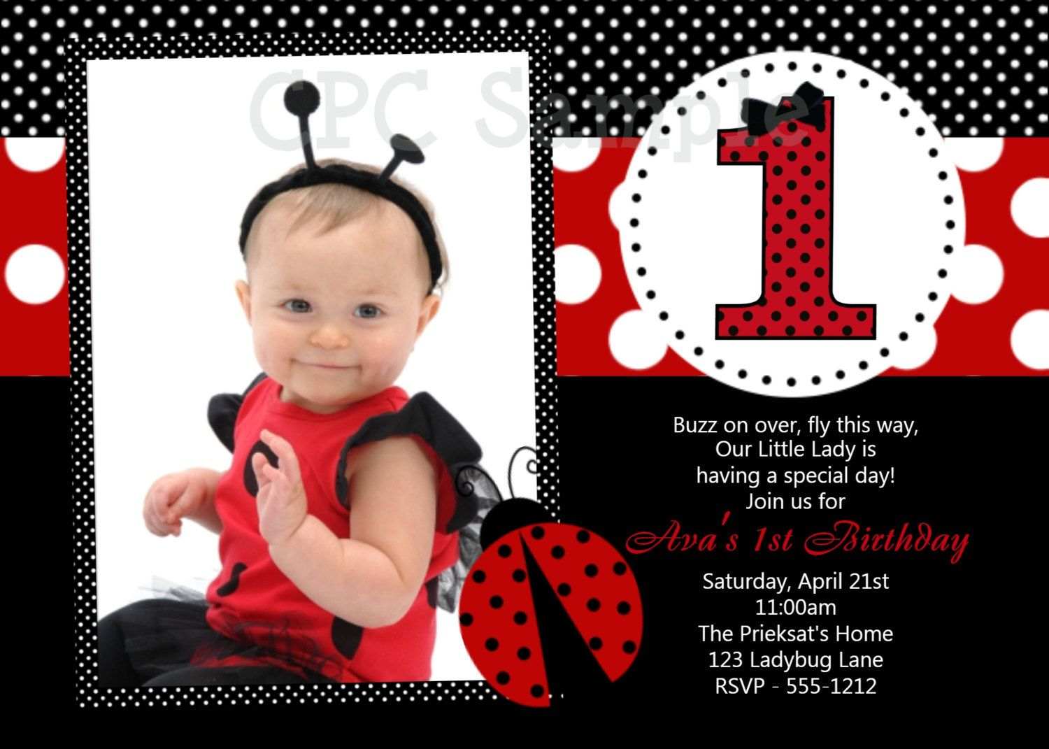 Ladybug Birthday Invitation Printable Or Printed Ladybug St - Digital first birthday invitation
