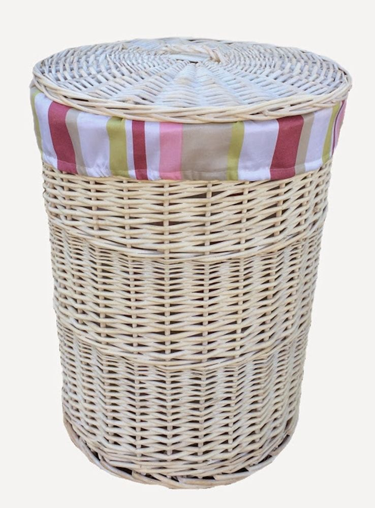 Red Hamper Large Round White Wash Laundry Hamper With Striped