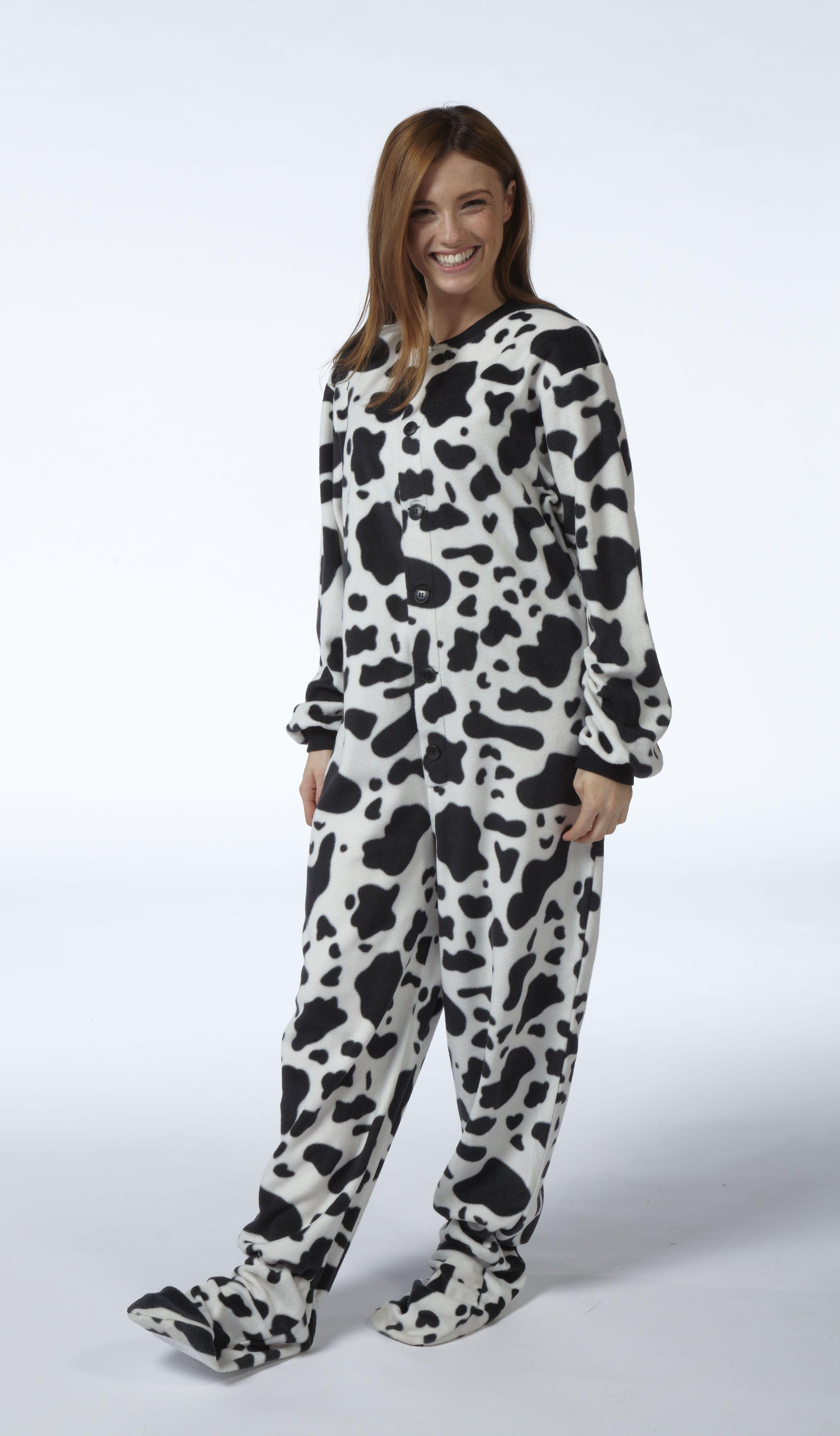 Snuggaroo Women s Black White Cow Print Footed Onesie Pyjamas PJs Pajamas 5a965a5022