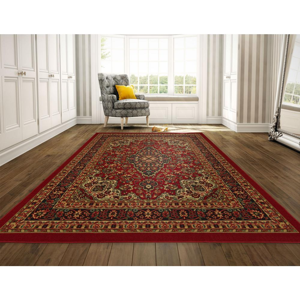 Ottomanson Ottohome Collection Persian Heriz Oriental Design Dark Red 8 Ft X 10 Ft Area Rug Oth2210 8x10 Oriental Design Home Decor Traditional Decor