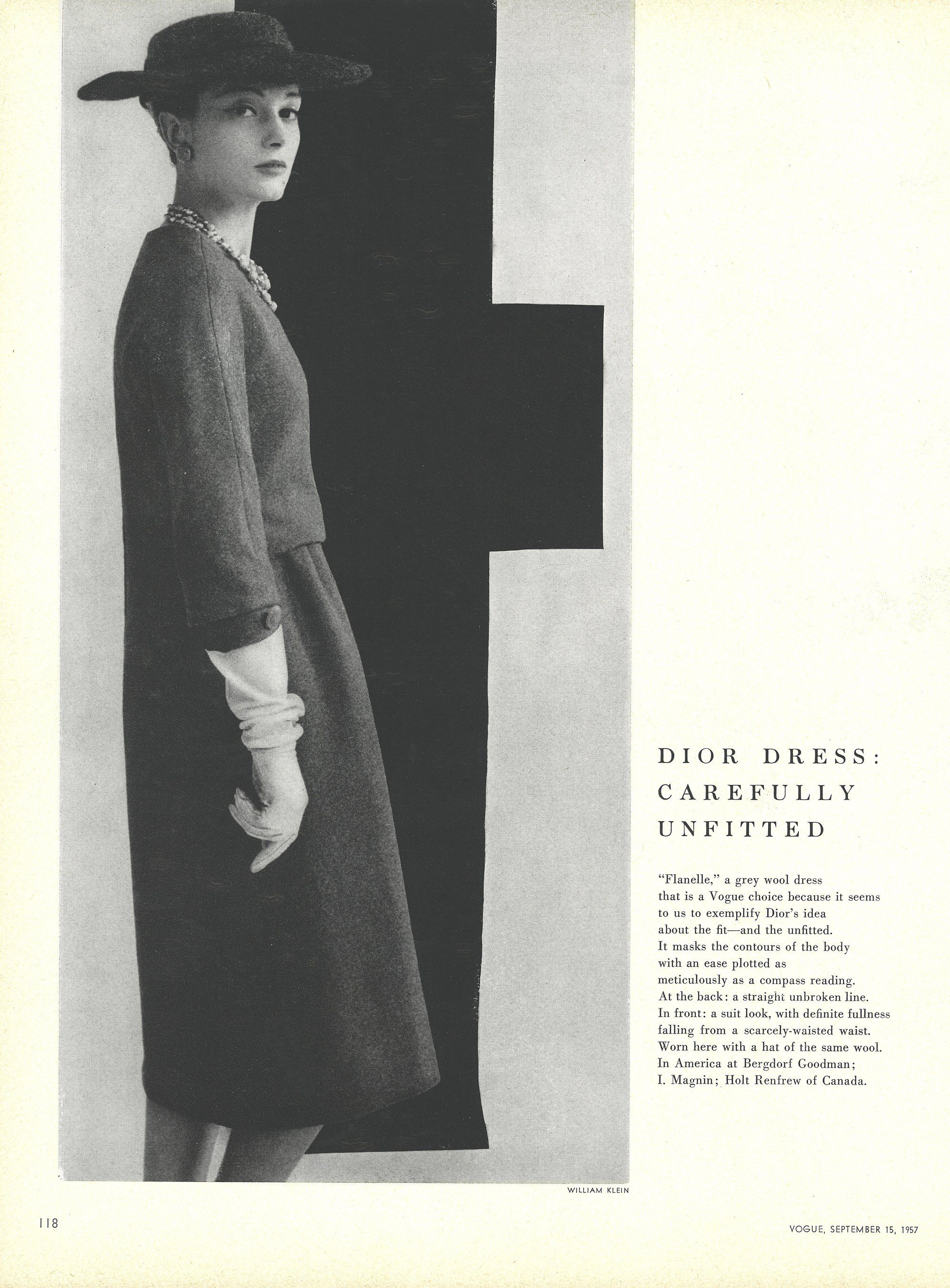 "Fall 1957 - The unfitted dress . . . ""masks the contours of the body with an ease as plotted as a compass reading."""