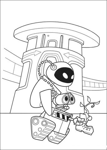 Eva Wall E And Plant Coloring Page From Wall E Category Select