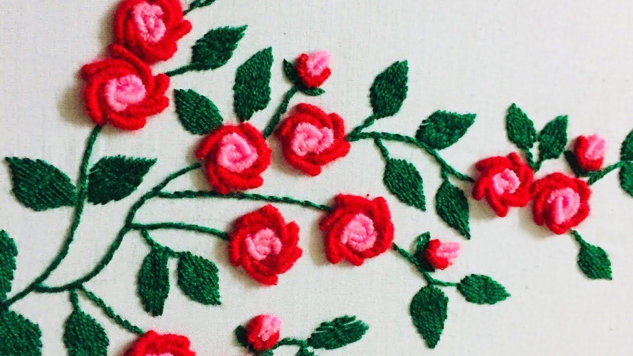 Hand Embroidery Fantasy Rose Flower Design By Nakshi Design Art In 2020 Hand Embroidery Flower Designs Rose Flower