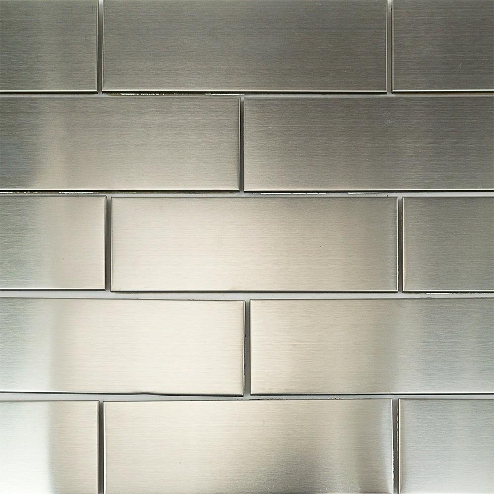 Stainless Steel 2x6 Metal Subway Tile Metal Tile Backsplash Metal Tile Stainless Steel Tile