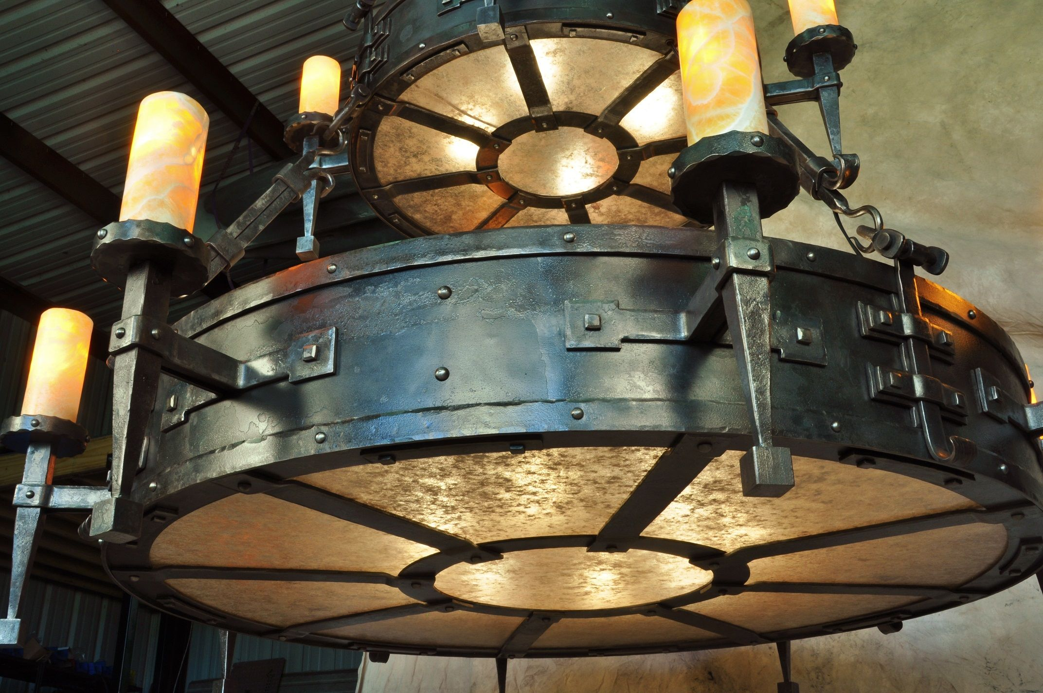 Ironton forge detail of custom hand forged iron chandelier hand ironton forge cabin chandelierentry chandelierwrought iron arubaitofo Choice Image
