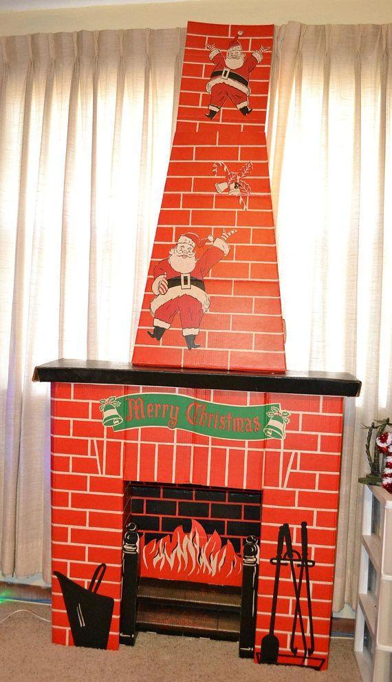Vintage ToyMaster Electric Cardboard Fireplace Chimney Card