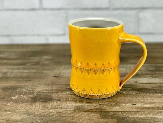 Large Handmade Mug Mango Glazed Porcelain One Of A Kind