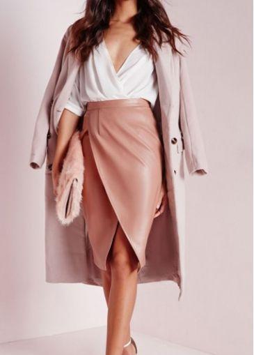 Pink Asymmetric Hem High Waist Skirt - USD $17.66