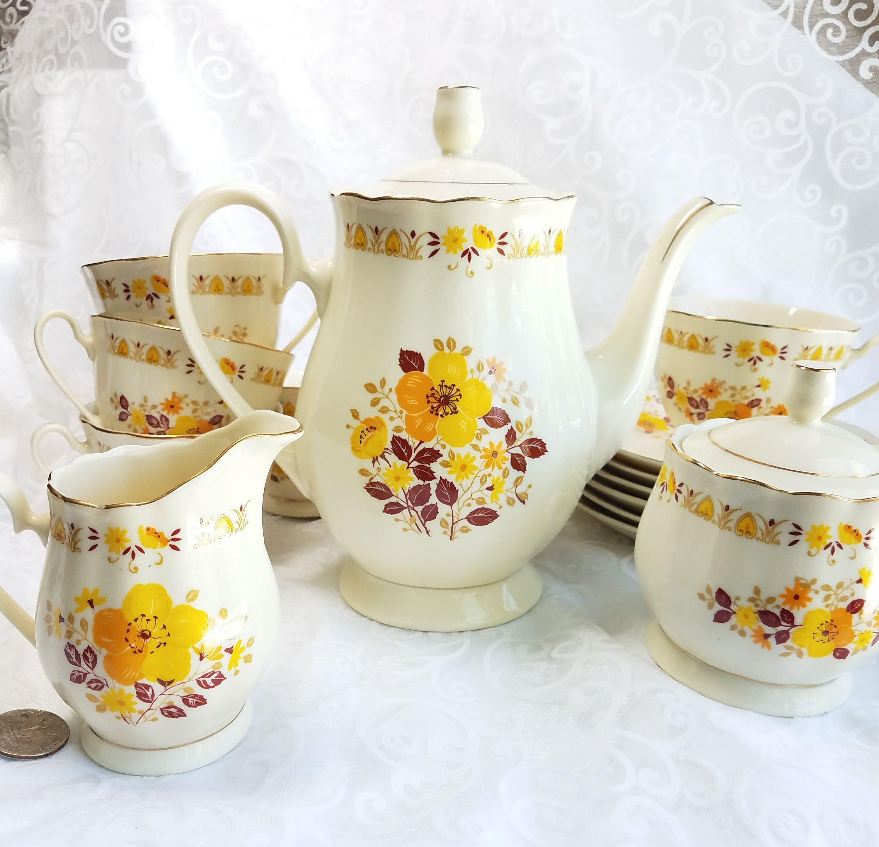 Vintage Budlet Ivory China Yellow Tea Set, Retro 70S Yellow