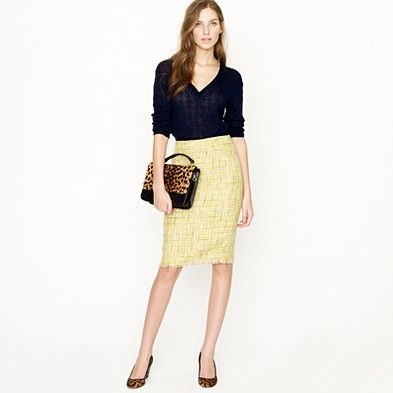 Absolutely love this yellow tweed pencil skirt!!