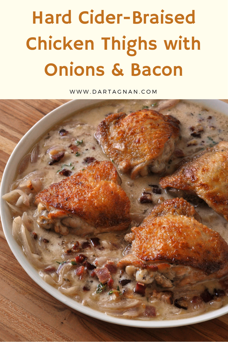 Hard Apple Cider Braised Chicken with Onions & Bacon