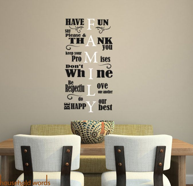 Family Decal Decor Vertical Lettering Word Decoration