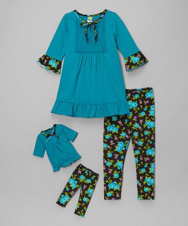 Teal & Black Floral Lace Ruffle Tunic Set & Doll Outfit - Girls #zulily #zulilyfinds