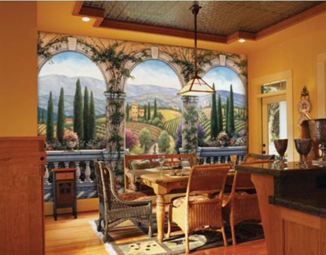 high end trompe l 39 oeil wall murals tuscan villa wall mural wallpaper trompe l 39 oeil sella. Black Bedroom Furniture Sets. Home Design Ideas