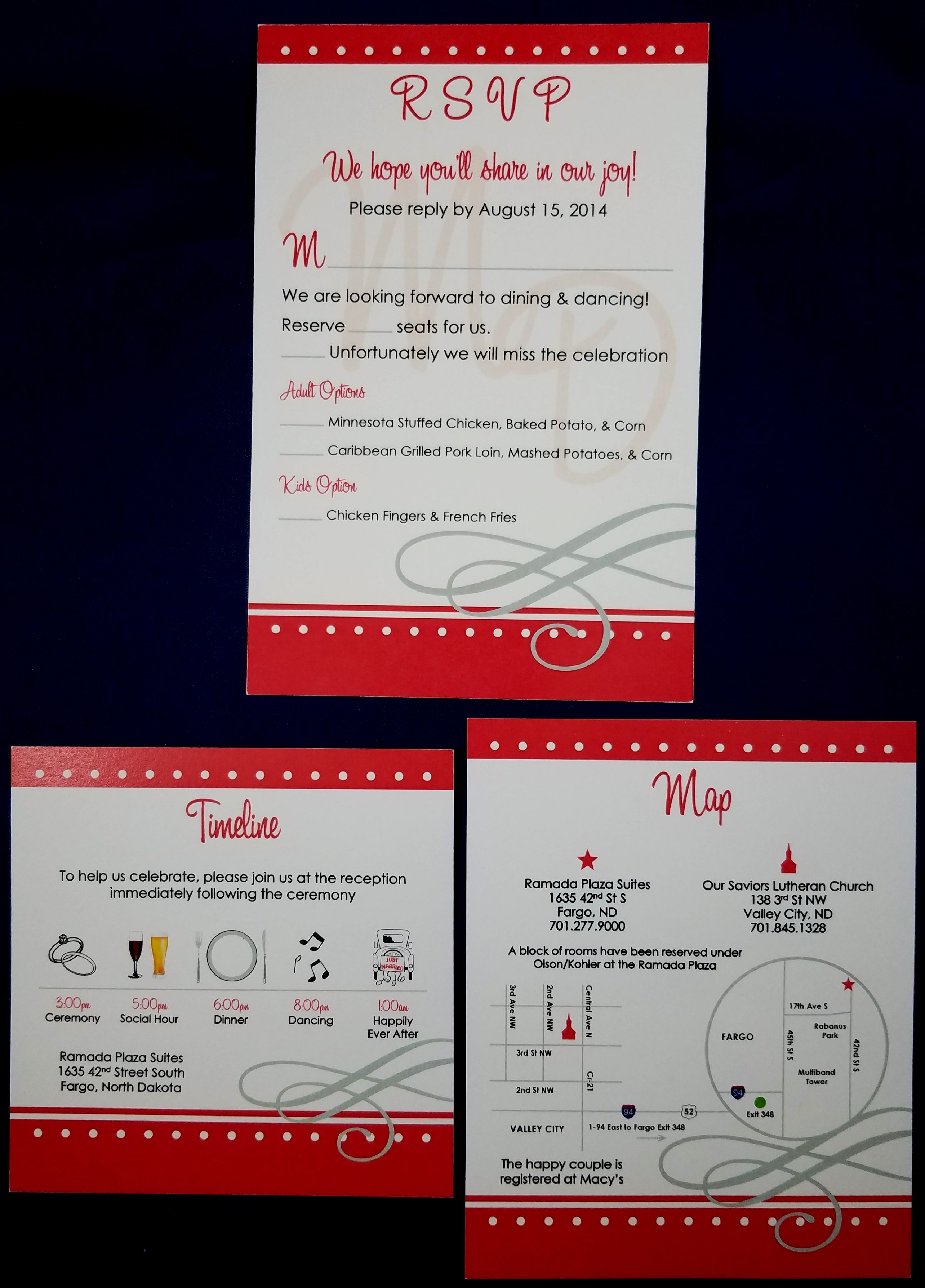 Red theme with white dots rsvp with detailed timeline & map ...