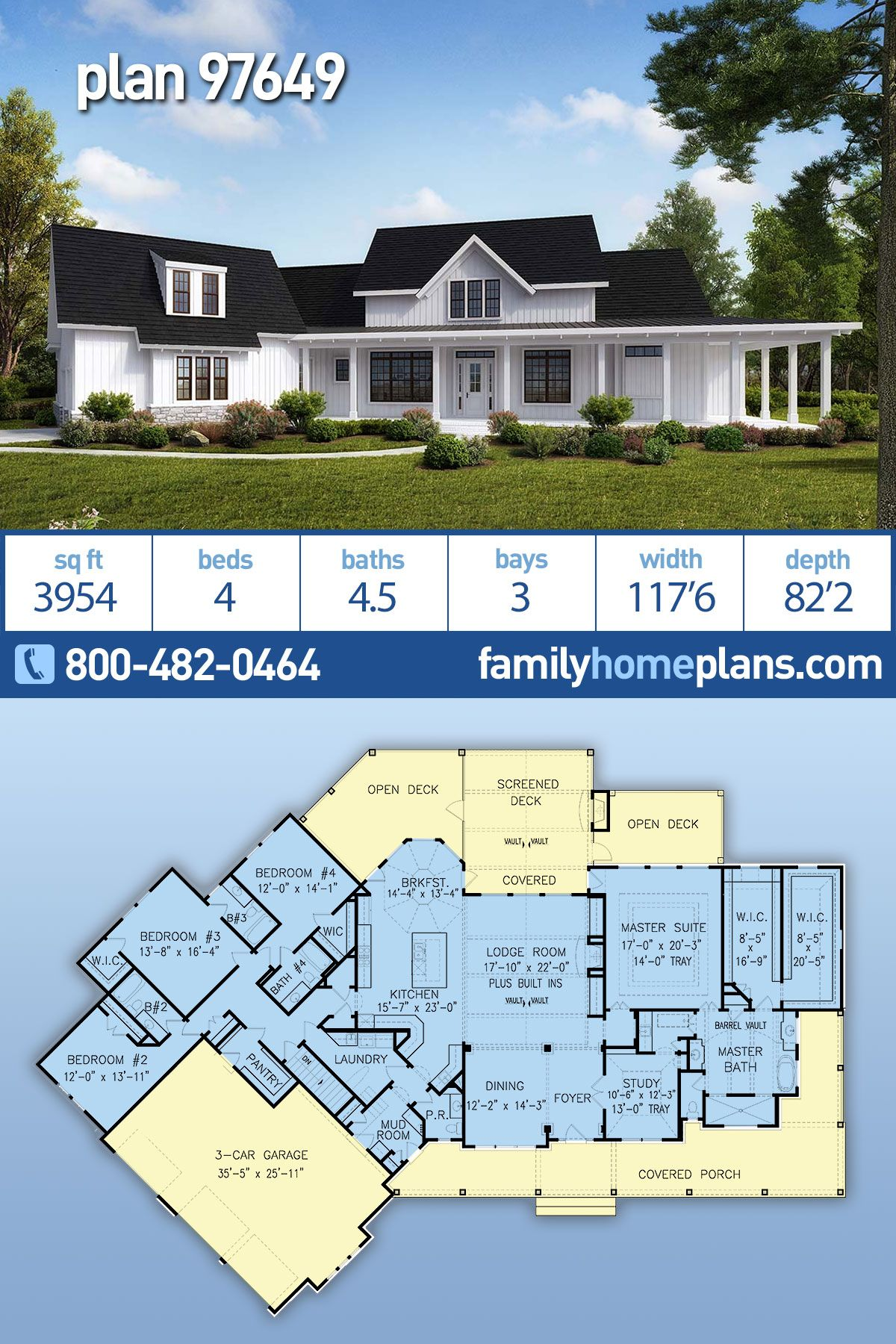 Southern Style House Plan 97649 With 4 Bed 5 Bath 3 Car Garage House Plans Farmhouse Farmhouse Plans Dream House Plans