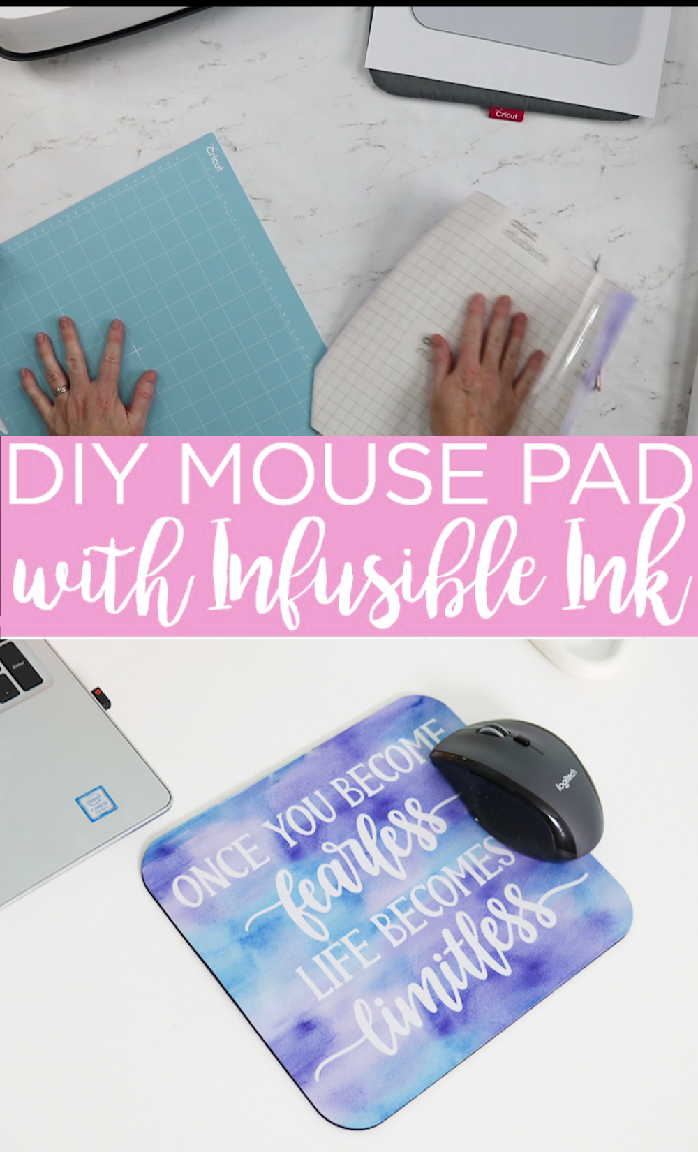 Did you know that you can use Cricut Infusible Ink to make a DIY mouse pad? The process is super simple and permanent! This is a great way to spruce up your office! #office #cricut #cricutcreated #mousepad #infusibleink #cricutinfusible ink #cricutcrafts #cricutprojects