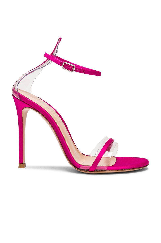 fe5c66288e8 Gianvito Rossi Satin Plexi G String Heels in Fuchsia   Transparent ...
