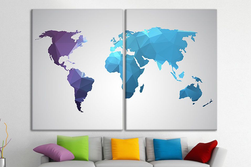 map of world canvas large map wall art geometric purple and blue print canvas set geometric world map world map hanging world map decor