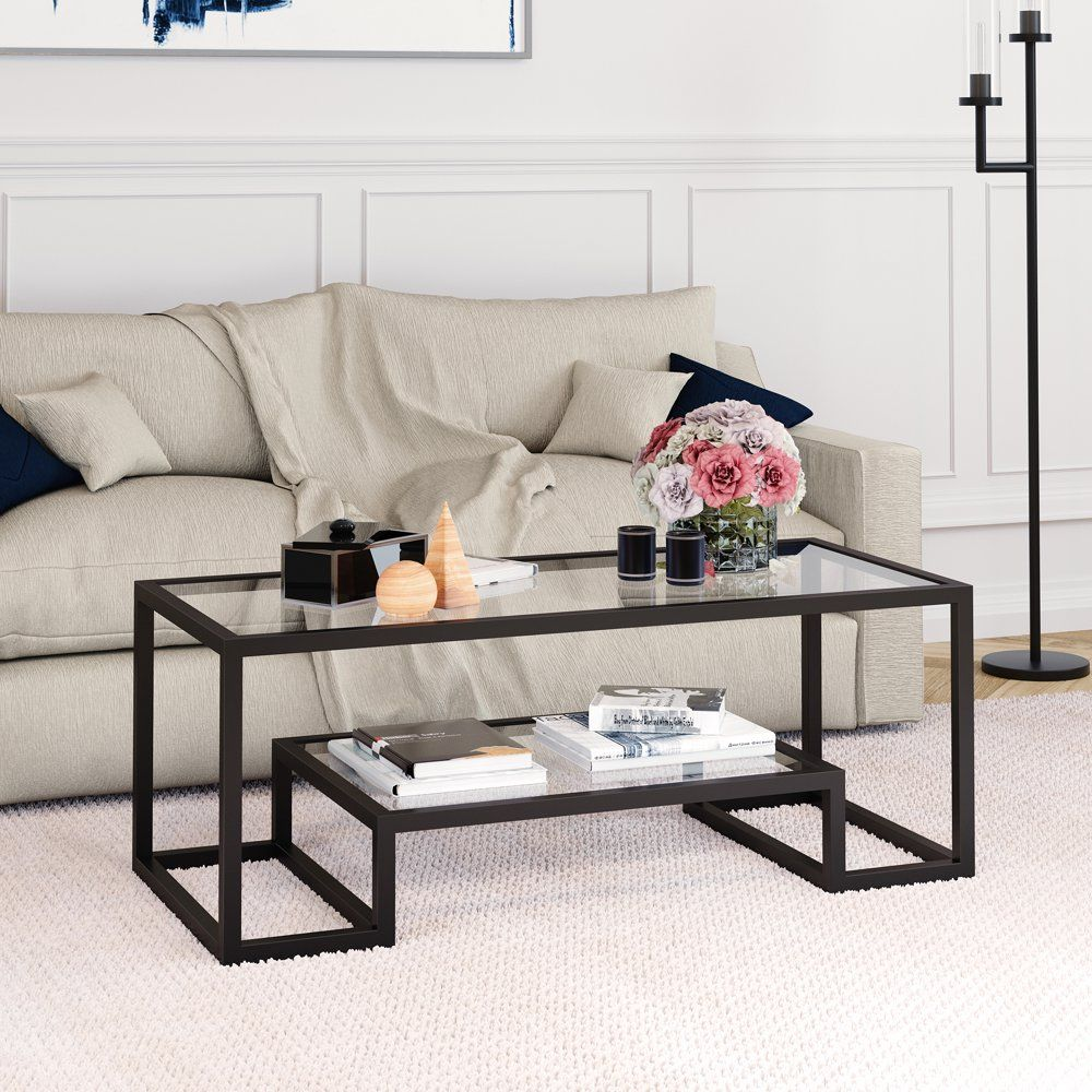 Geometric Modern Glass Coffee Table With Storage Shelf Rectangle Accent Table In Blackened Bronze Finish For Living Room Home Office Den 17 H X 45 L X 20 In 2021 Coffee [ 1000 x 1000 Pixel ]