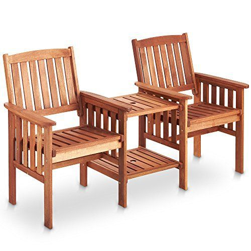 vonhaus garden love seat bench 2 seater hardwood outdoor patio furniture set with built - Wooden Garden Furniture Love Seats