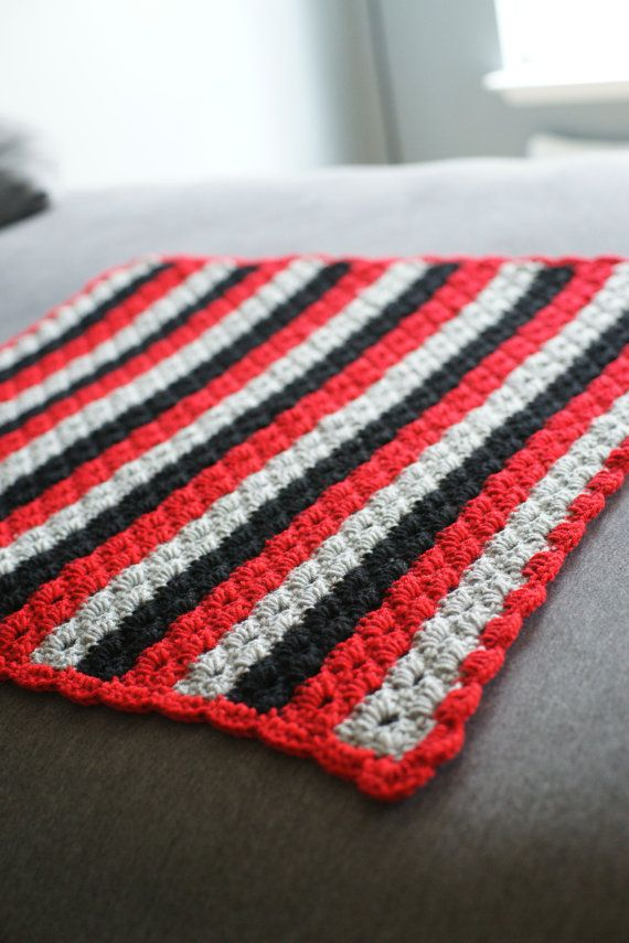Wave baby blanket- Red, grey, and black- made to order. | My crochet ...