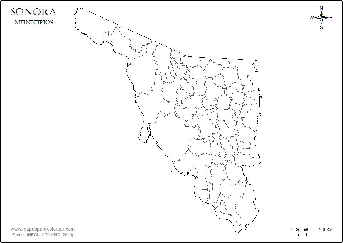 Mapa Estado Sonora Municipios Png 1169 827 Mapas Sonora Colores