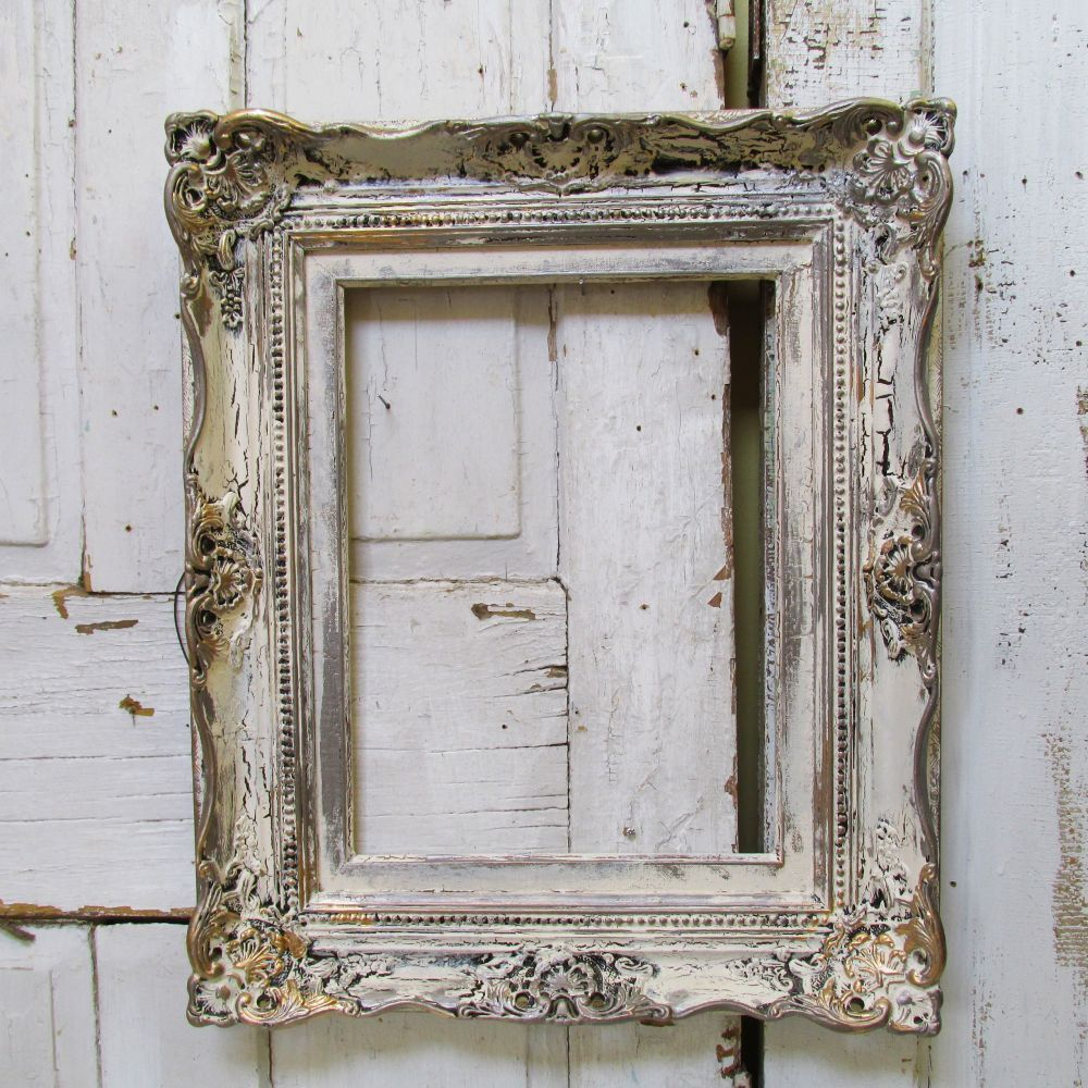 Ornate large wooden frame wall hanging shabby cottage chic ivory ...