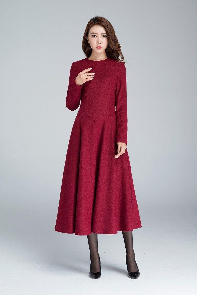 Wine red dress, maxi dress, wool dress, fall dress, party dress ...