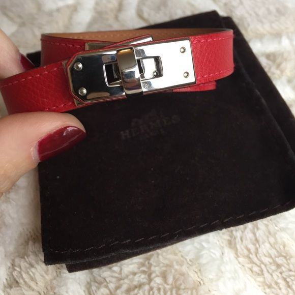 en orange cuir bracelet in bags collector wristlet s square hermes leather herm kelly