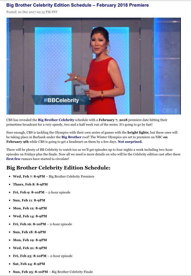 Celebrity big brother  schedule