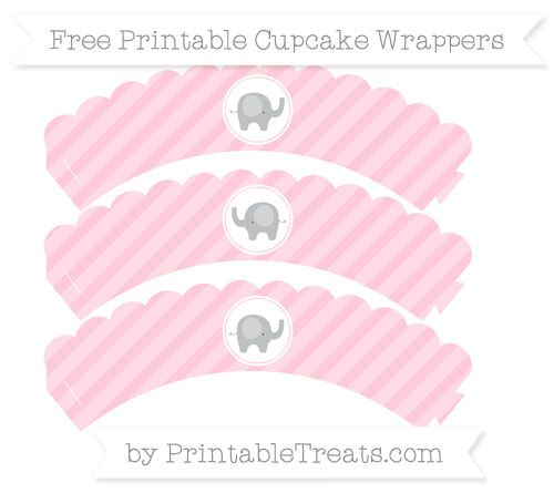 Free Pink Diagonal Striped  Baby Elephant Scalloped Cupcake Wrappers